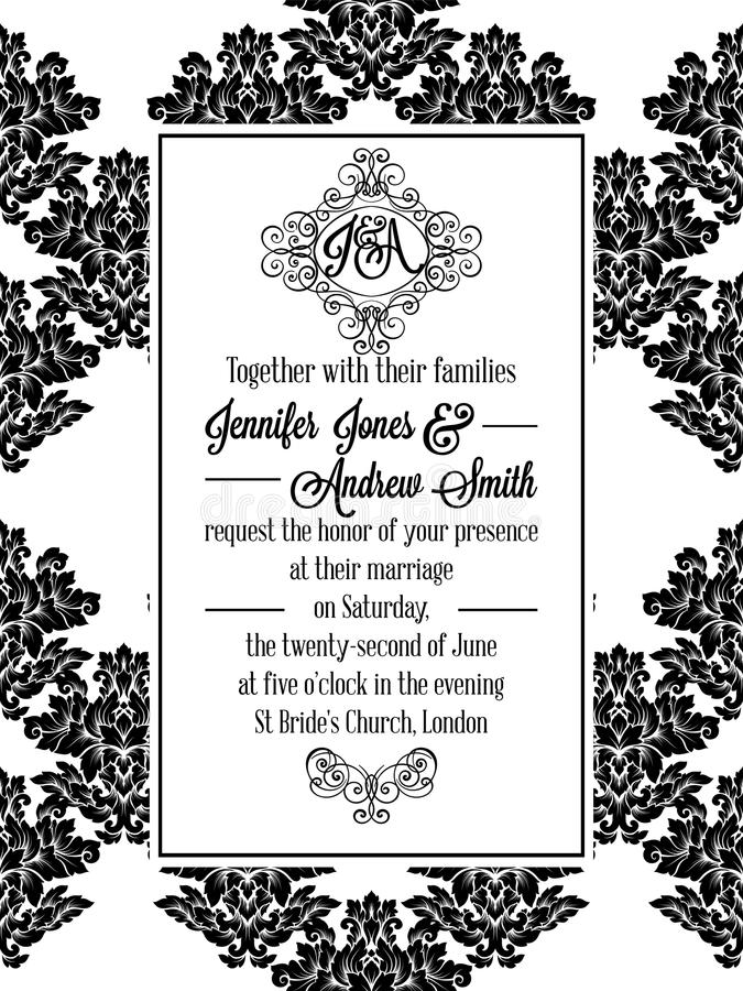 Invitation de modèle de brocard de victorian de damassé illustration de vecteur