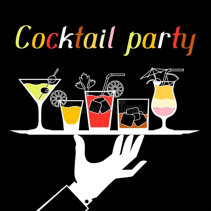 Invitation de partie avec des boissons et des cocktails d'alcool illustration libre de droits
