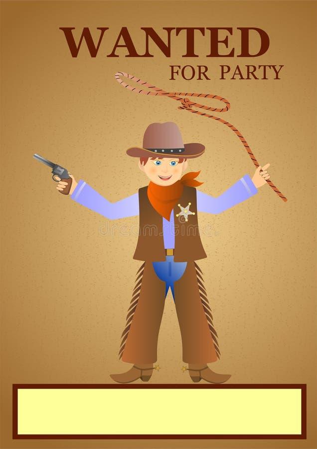Invitation de partie avec le cowboy illustration libre de droits