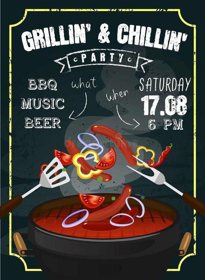 Invitation de partie de barbecue ou conception d'affiche avec l'effet de craie et l'équipement de gril Saucisses et légumes grill illustration libre de droits