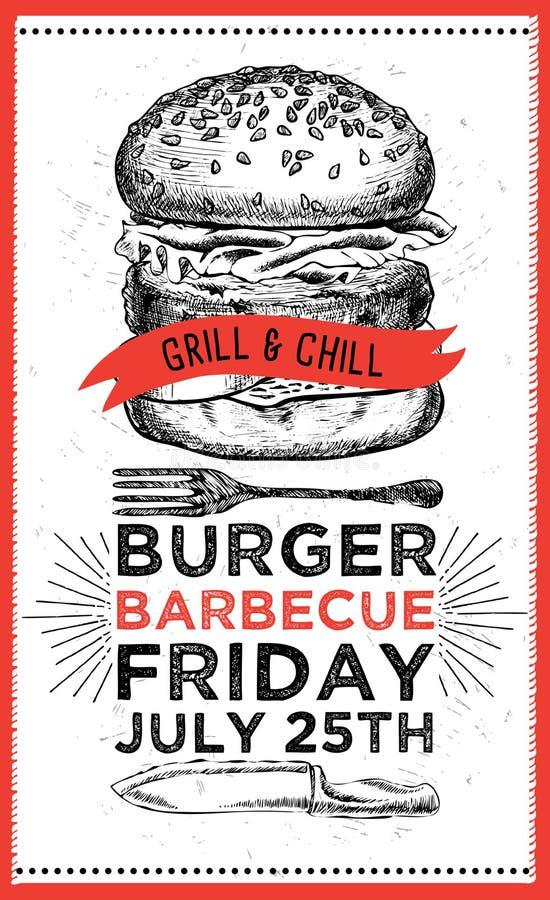 Invitation de partie de barbecue illustration stock