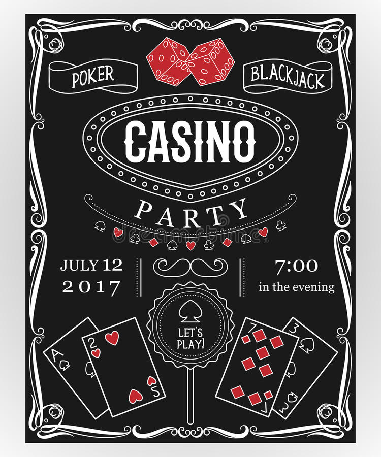 Invitation de partie de casino sur le tableau avec les éléments décoratifs illustration stock
