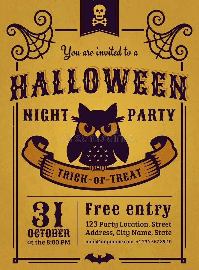 Invitation de partie de Halloween Carte de vecteur illustration stock