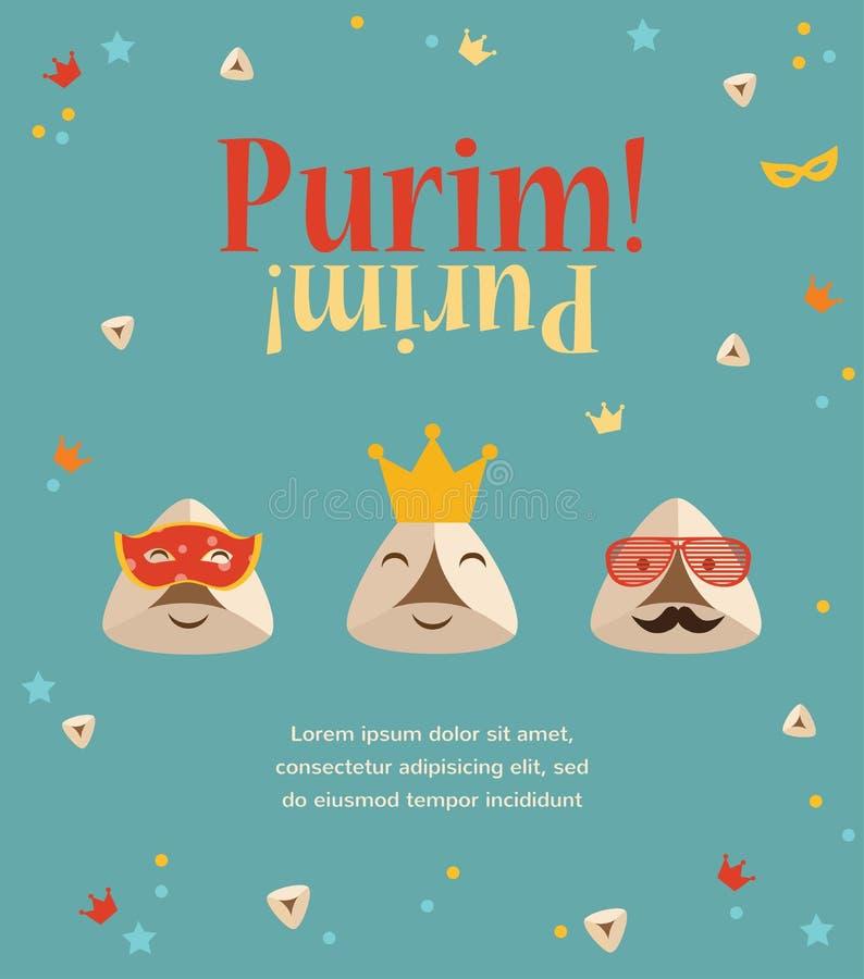 Invitation de partie de Purim avec des oreilles de Haman de hippie illustration de vecteur