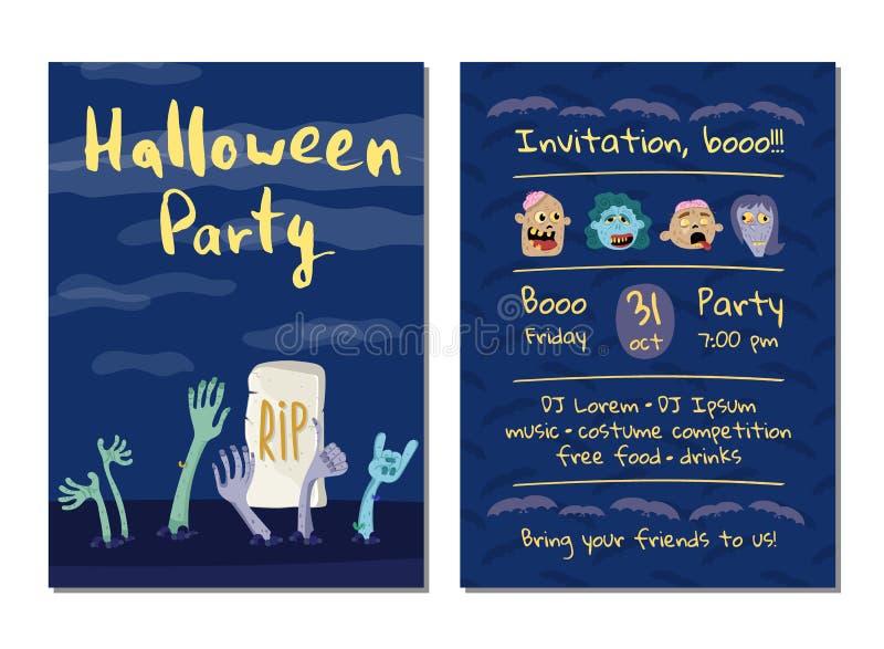 Invitation de partie de Halloween avec des mains de zombis illustration stock