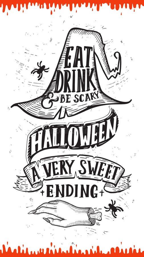 Invitation de partie de Halloween avec les illustrations tirées par la main illustration libre de droits