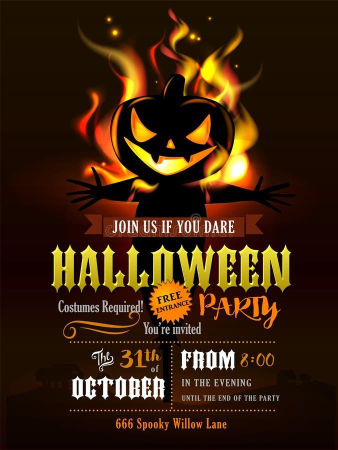 Invitation de partie de Halloween avec les potirons effrayants illustration libre de droits