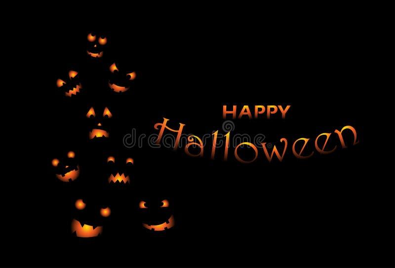 Invitation de partie de Halloween avec les potirons effrayants Potirons drôles et mauvais pour la conception de Halloween illustration libre de droits