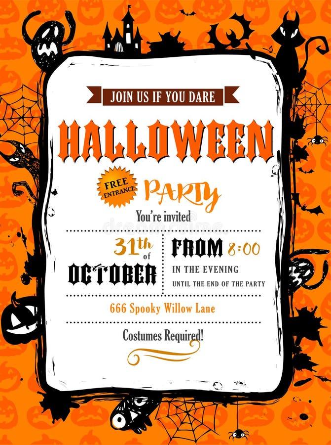 Invitation de partie de Halloween dans le cadre de vecteur illustration de vecteur