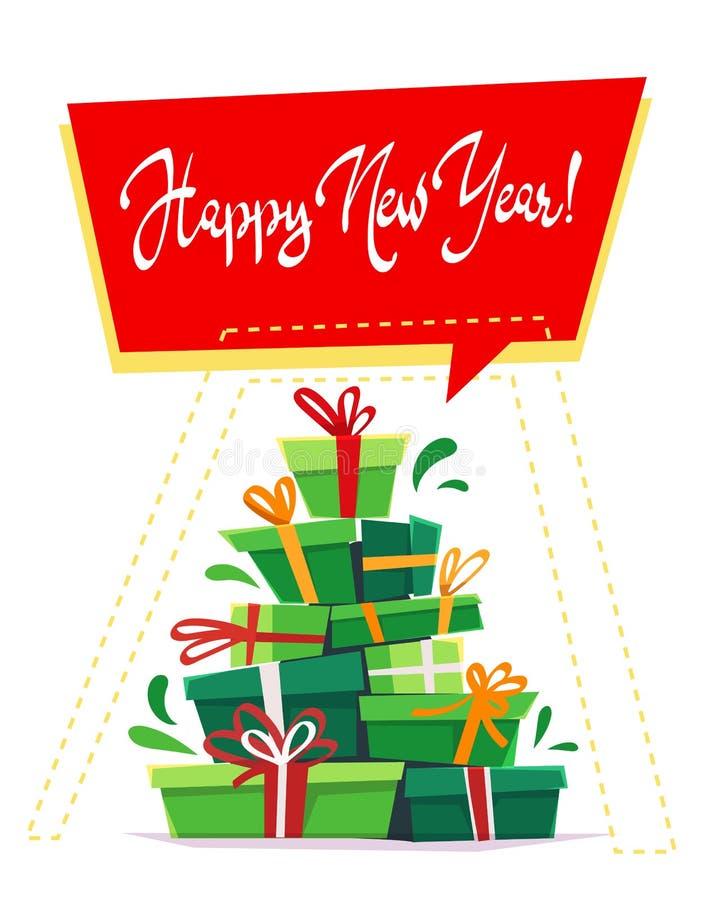 Invitation de partie de salutation de carte postale de bonne année, sort beaucoup de boîte-cadeau de forme d'arbre de Noël de sup illustration libre de droits
