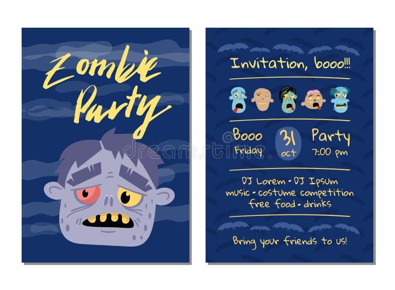 Invitation de partie de zombi avec la tête de monstre illustration stock