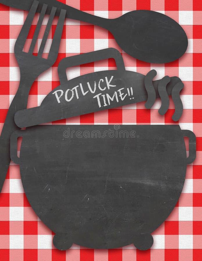 Invitation de Potluck sur la nappe avec des configurations de tableau illustration libre de droits