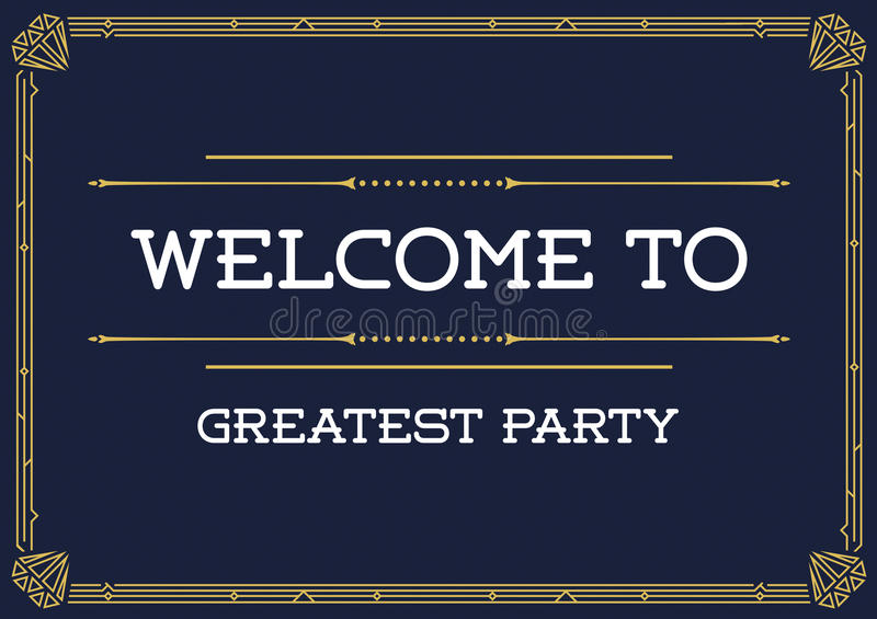 Invitation de style de Gatsby en Art Deco ou époque de Nouveau illustration stock