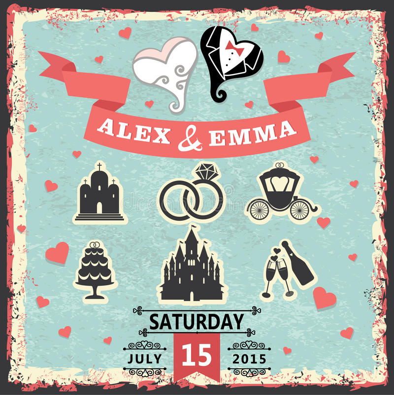Invitation de vintage avec les articles stylisés de coeur et de mariage illustration de vecteur