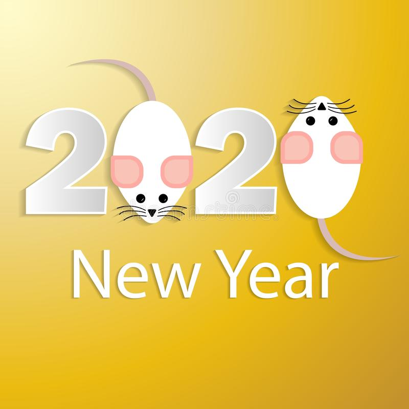 Invitation for decorative design. Decorative greeting card 2020 new year. Rat -symbol 2020 new year. Modern graphic design. New. Year party design banner royalty free illustration