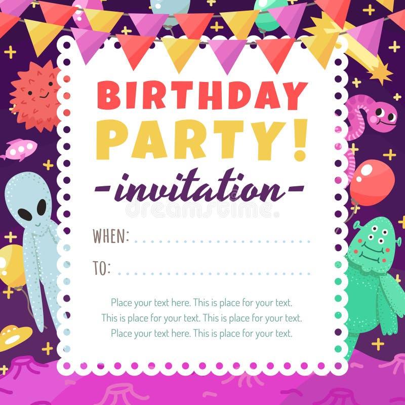 Invitation drôle et mignonne de fête d'anniversaire de l'espace avec des étrangers et des monstres de bande dessinée illustration stock
