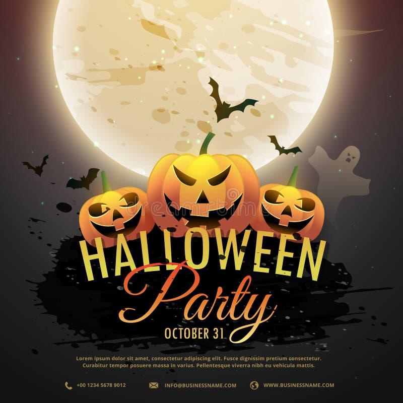 Invitation effrayante de partie de potirons de Halloween illustration stock