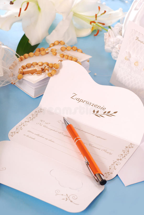 Invitation For The First Holy Communion Stock Image