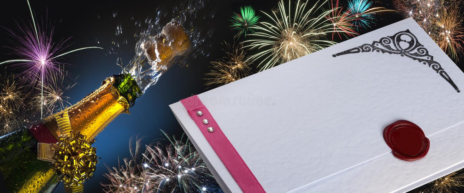 Invitation - Fizz and Fireworks royalty free stock image