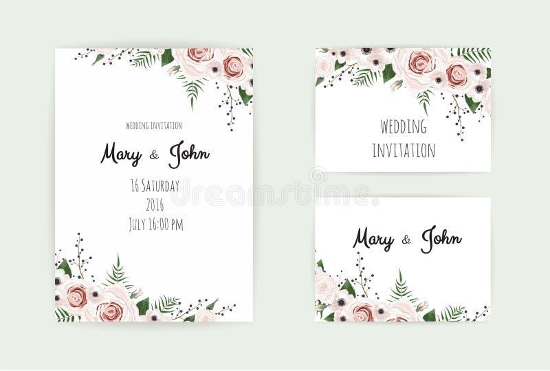 Invitation florale de mariage Rose de jardin botanique de conception de vecteur de carte, fleur de Rose de pêche, anémones, eucal illustration de vecteur