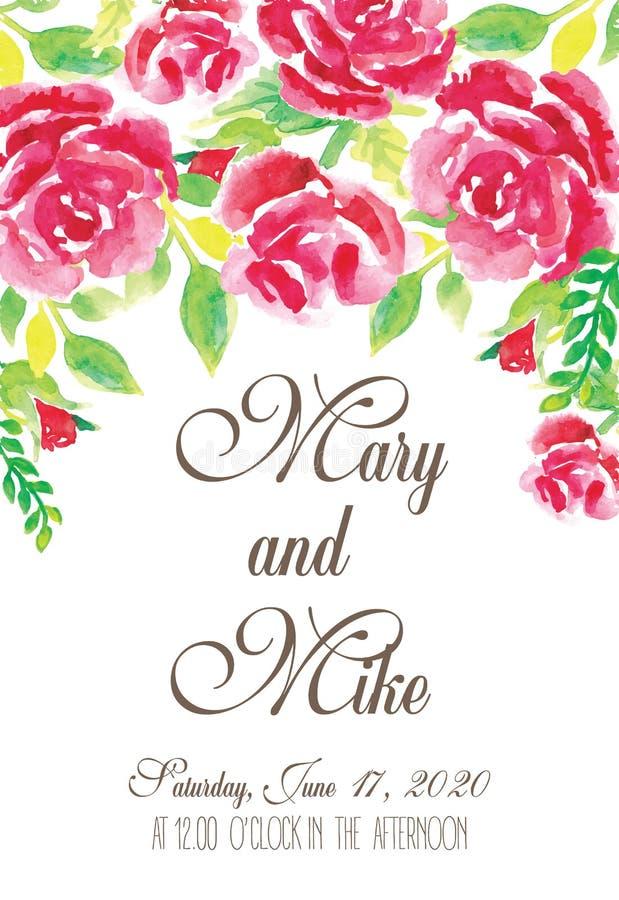 Invitation florale de mariage watercolor illustration libre de droits