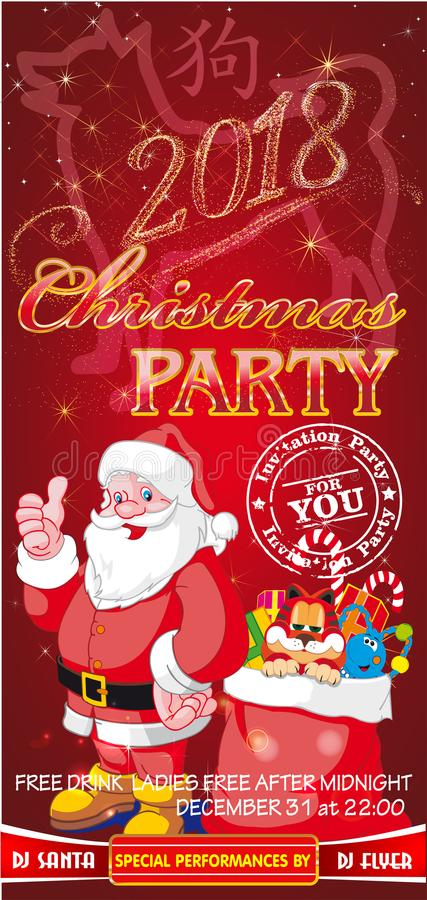 Invitation flyer for a Christmas party on a red background royalty free illustration