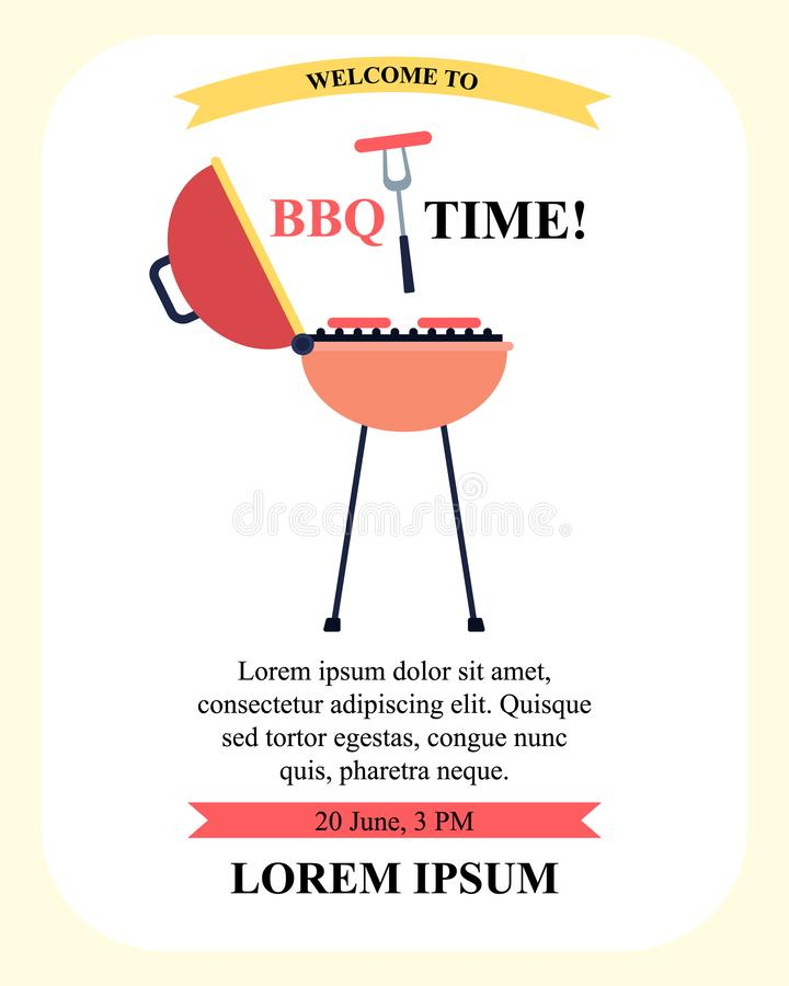 Invitation Flyer Welcoming Spend BBQ Time Together. Flat Cartoon Invitation Flyer Spend Weekend Together with Editable Text, Title BBQ Time in Frame. Cooking vector illustration