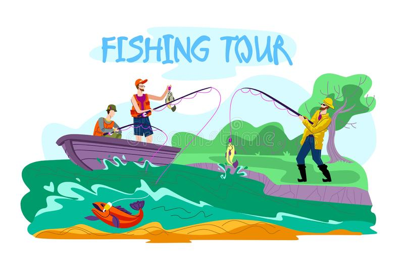 Invitation Flyer is Written Fishing Tour Cartoon. Information Poster Tournament or Fishing Competition. Flat Banner People Catch Fish from Shore and From Boat stock illustration