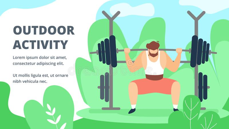 Invitation Flyer is Written Outdoor Activity. Sports Activities for Physically Strong People. Man Raises Barbell on Background Plants and Sky. Poster Training stock illustration