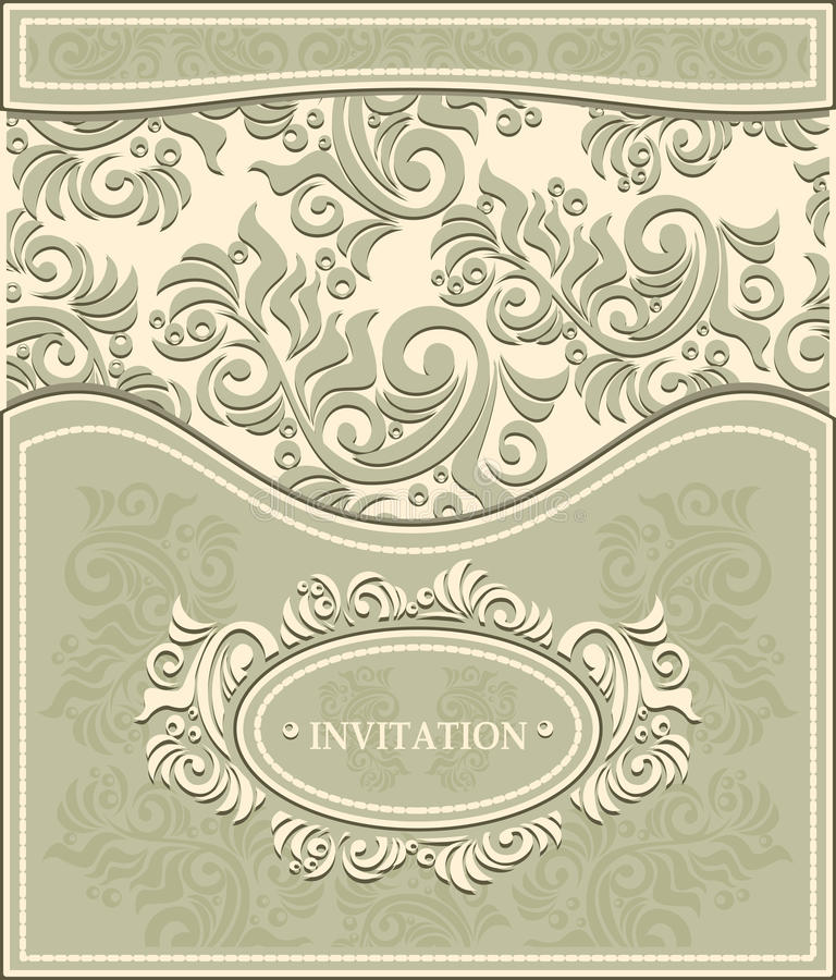 Invitation or Frame in Decorative floral backgroun royalty free illustration