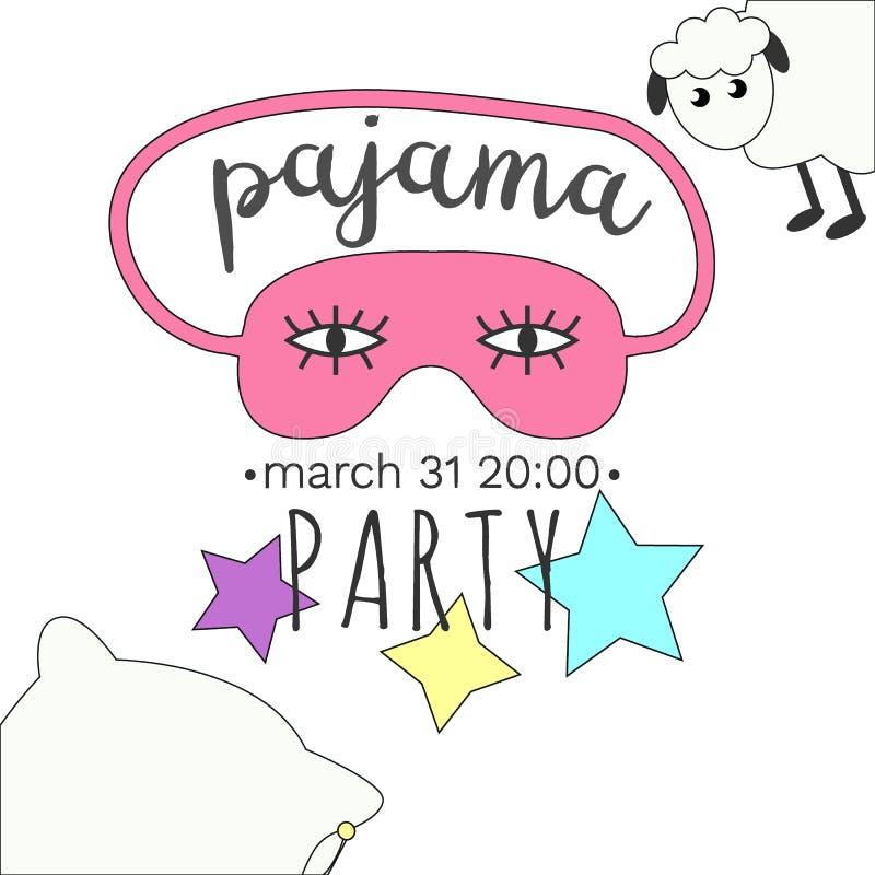 Invitation Girly de partie de pyjama dans des couleurs lumineuses photographie stock
