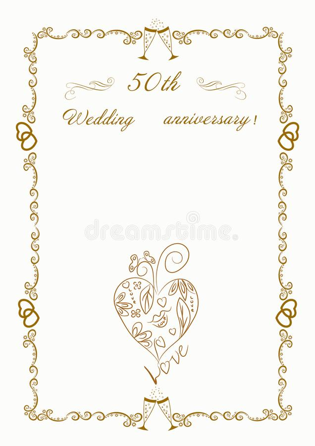 50th Wedding anniversary Invitation.Beautiful illustration. Invitation for a golden wedding made with love.Beautiful illustration vector illustration