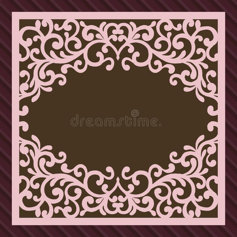Invitation or greeting card with flower ornament. Cut laser square envelope template. Wedding invitation envelope for stock illustration