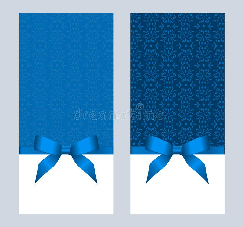 Invitation, Greeting or Gift Card With Blue Ribbon And A Bow on Decorative Elements background. royalty free illustration