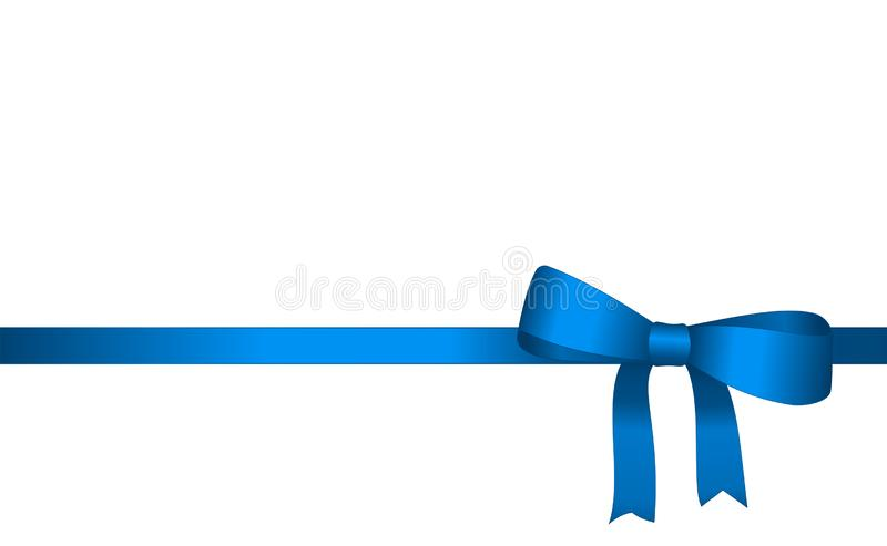 Invitation, Greeting or Gift Card With Blue Ribbon And A Bow. Gift Voucher Template with place for text vector illustration