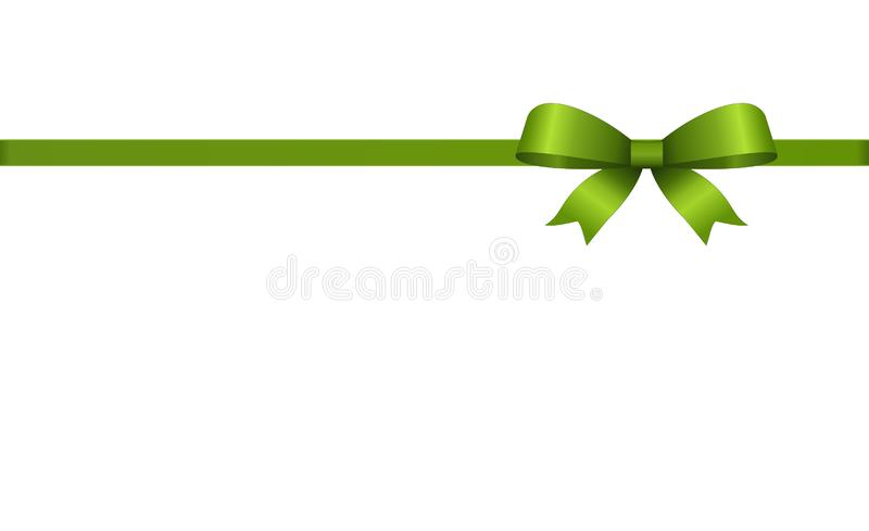 Invitation, Greeting or Gift Card With Green Ribbon And A Bow. Gift Voucher Template with plac royalty free illustration