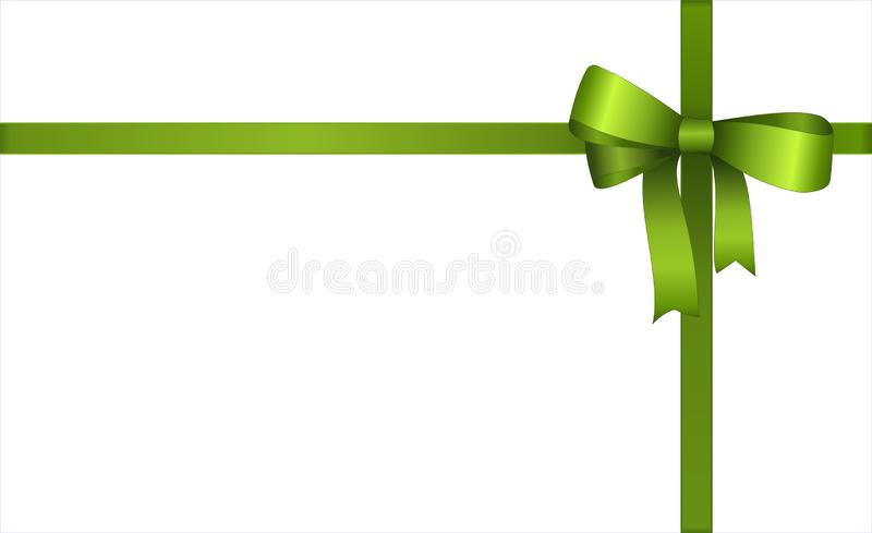 Invitation, Greeting or Gift Card With Green Ribbon And A Bow on white background stock illustration