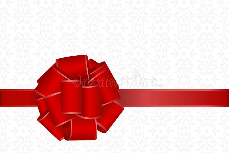 Invitation, Greeting or Gift Card With Red Ribbon And A Bow on Decorative Elements background. royalty free illustration
