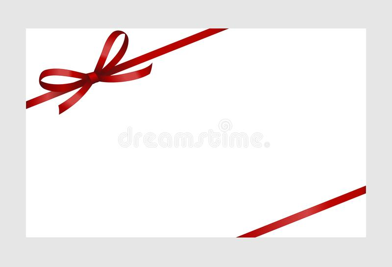 Invitation, Greeting or Gift Card With Red Ribbon And A Bow Isolated on white background. stock illustration