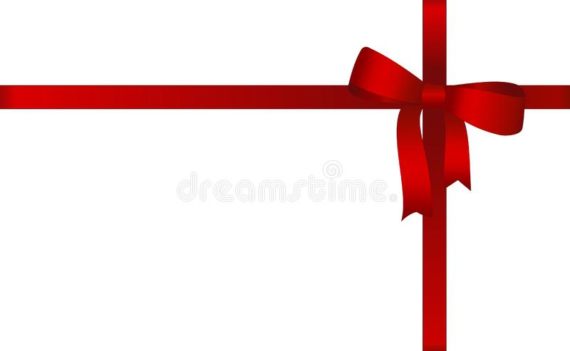 Invitation, Greeting or Gift Card With Red Ribbon And A Bow on white background. Gift Voucher Template with place for text. stock illustration