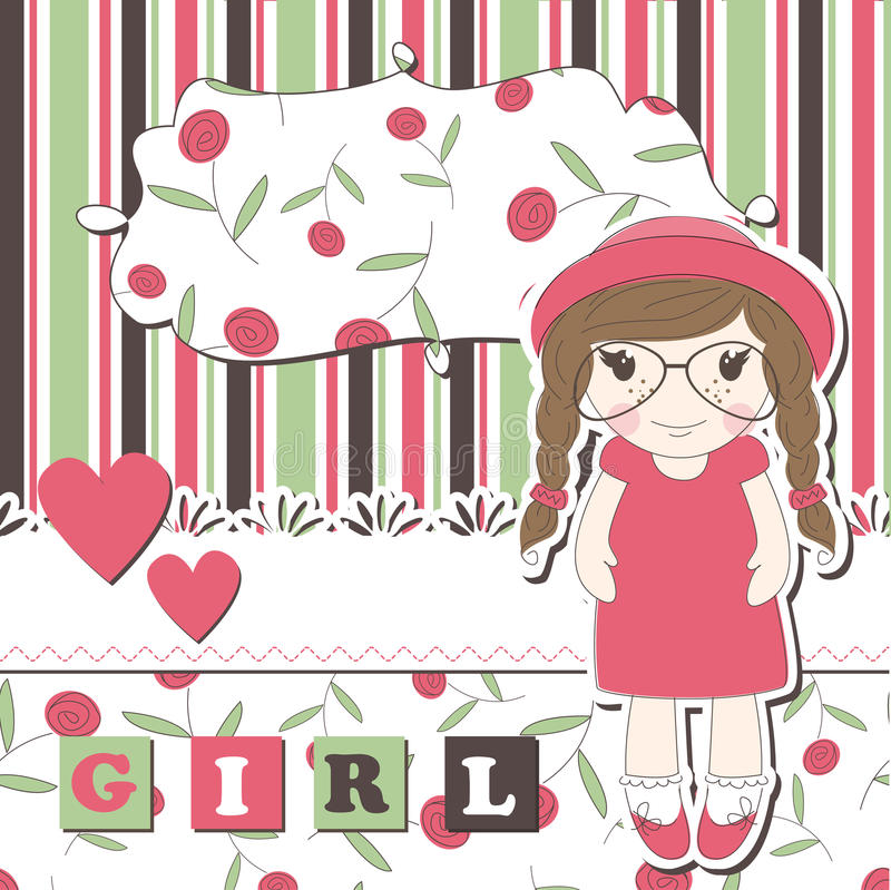 Download Invitation Or Greeting Scrapbook Card For Girl Stock Vector - Image: 26101084