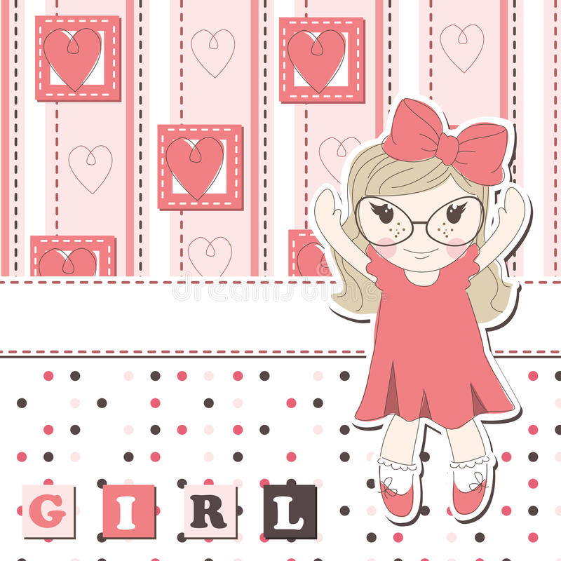 Invitation Or Greeting Scrapbook Card For Girl Royalty Free Stock Photos