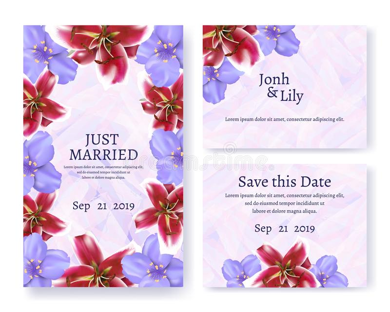 Invitation and Greeting Text Card Set for Wedding royalty free illustration