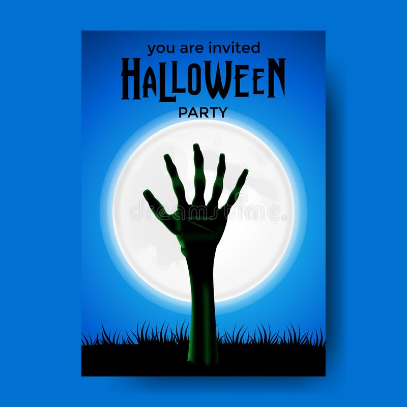 Invitation halloween party banner poster with illustration of zombie hand from ground vector illustration