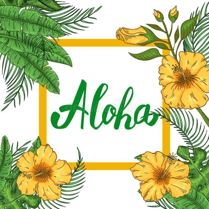 Invitation hawaïenne tropicale de partie avec des palmettes et des fleurs exotiques illustration libre de droits