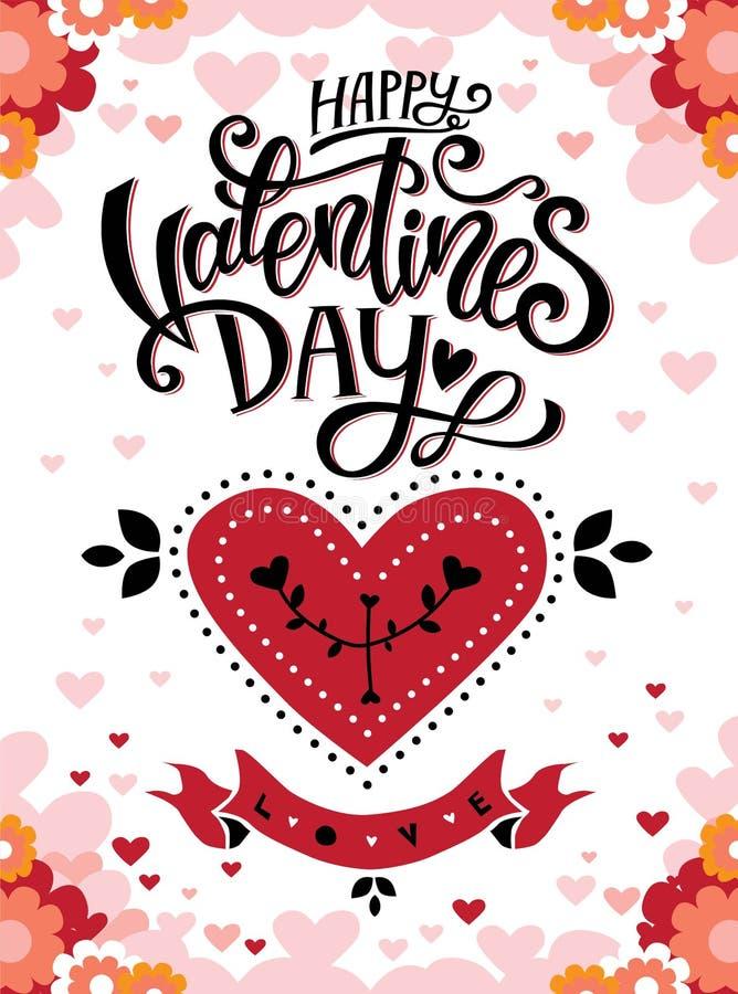 Invitation heureuse de minerai d'affiche de jour de valentines illustration stock