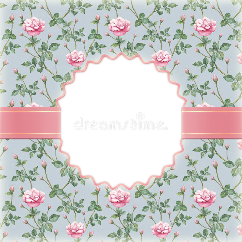 Invitation with illustration of rose flower stock photography