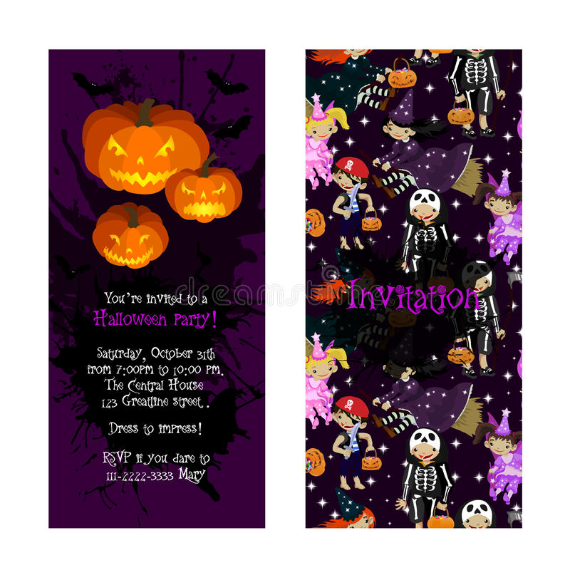 Invitation for kids halloween party stock vector illustration of invitation for kids halloween party illustration of jack lantern fairy witch death and pirate in cartoon style costume party invitation vector stopboris Image collections