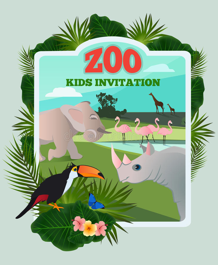 Invitation for kids party. Vector poster template with wild funny animals and place for your text. Zoo invitation banner with animall cartoon illustration stock illustration