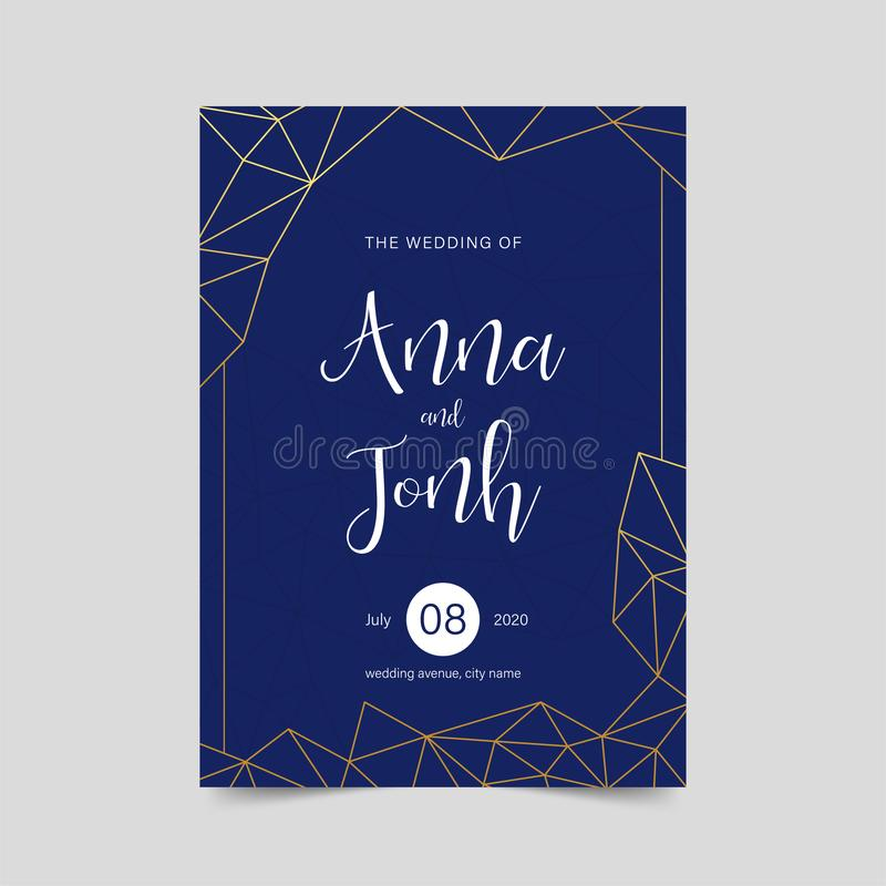 Invitation l'épousant de luxe, design de carte géométrique élégant, vecteur bleu d'or du fond ENV 10 illustration de vecteur